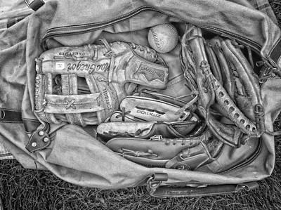 Baseball Gloves Bw Poster