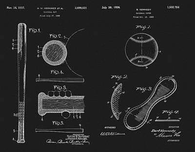 Baseball History Patent Poster