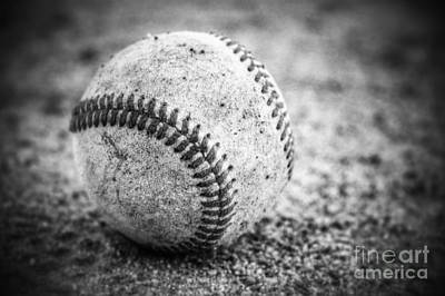 Baseball In Black And White Poster