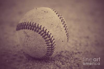 Baseball In Sepia Poster