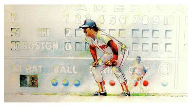 Jerry Remy At 2nd Base Poster by David Kelley