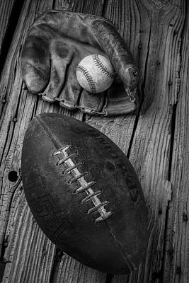 Baseball Mitt And Football Poster by Garry Gay