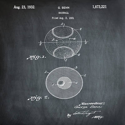 Baseball Patent 1832 In Chalk Poster