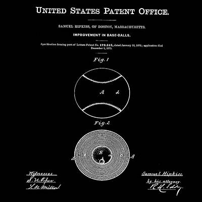 Baseball Patent 1876 Black Poster by Bill Cannon