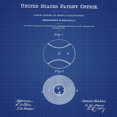 Baseball Patent 1876 Blueprint Poster by Bill Cannon