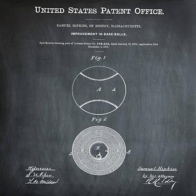 Baseball Patent 1876 Chalk Poster by Bill Cannon