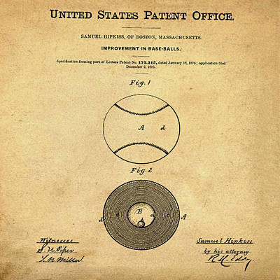 Baseball Patent 1876 In Sepia Poster by Bill Cannon