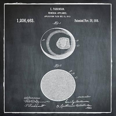 Baseball Patent 1916 Chalk Poster