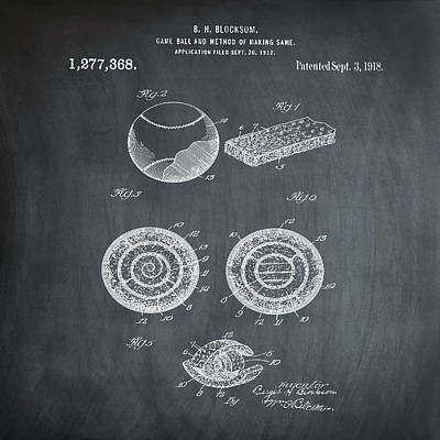 Baseball Patent 1918 In Chalk Poster