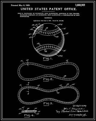 Baseball Patent - Black Poster by Finlay McNevin