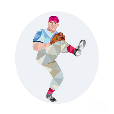 Baseball Pitcher Outfielder Throw Leg Up Low Polygon Poster