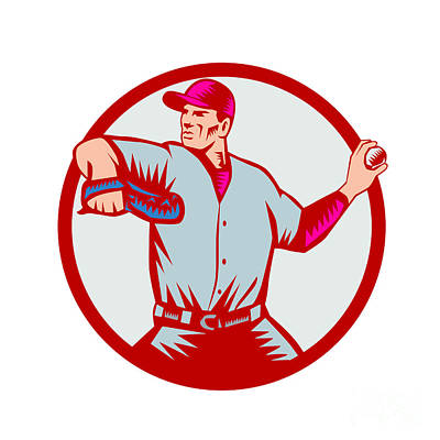 Baseball Pitcher Throwing Ball Circle Side Woodcut Poster