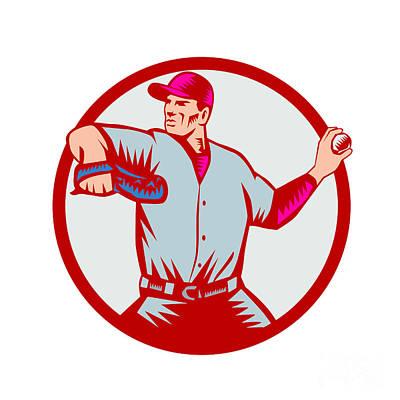Baseball Pitcher Throwing Ball Circle Side Woodcut Poster