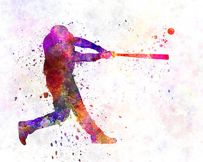 Baseball Player Hitting A Ball 01 Poster by Pablo Romero