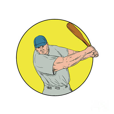 Baseball Player Swinging Bat Drawing Poster
