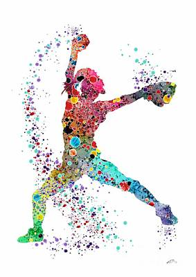 Baseball Softball Pitcher Watercolor Print Poster by Svetla Tancheva