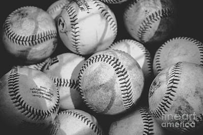 Baseballs In Black And White Poster