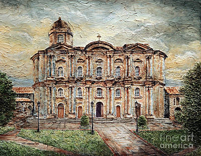 Poster featuring the painting Basilica De San Martin De Tours by Joey Agbayani