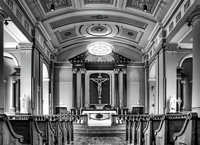 Poster featuring the photograph Basilica Of Saint Louis King - Black And White by Nikolyn McDonald