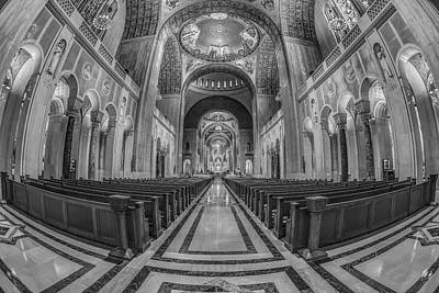 Basilica Of The National Shrine Of The Immaculate Conception Bw Poster by Susan Candelario