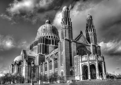 Basilica Of The Sacred Heart, Brussels Bw Poster by Sinisa CIGLENECKI