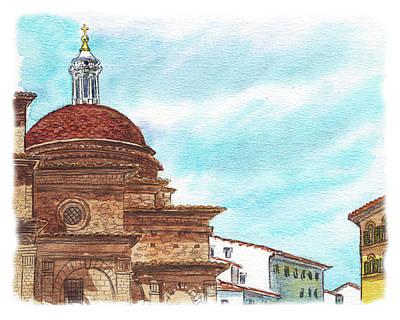 Poster featuring the painting Basilica San Lorenzo Florence Italy by Irina Sztukowski