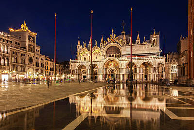 Poster featuring the photograph Basilica San Marco Reflections At Night - Venice, Italy by Barry O Carroll