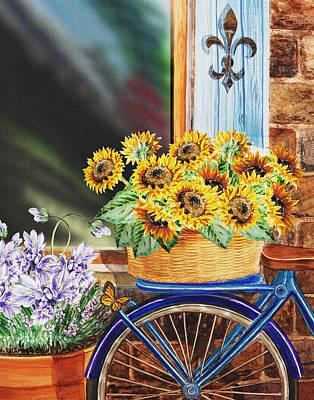 Basket Full Of Sunflowers Poster