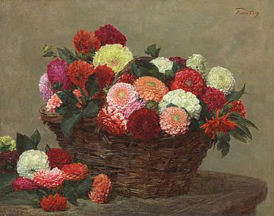 Basket Of Dahlias Poster