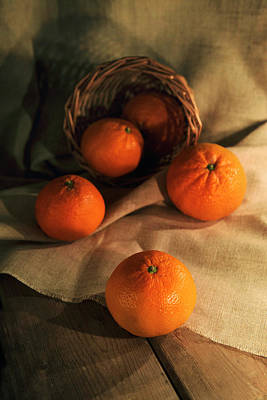 Basket Of Fresh Tangerines Poster by Jaroslaw Blaminsky