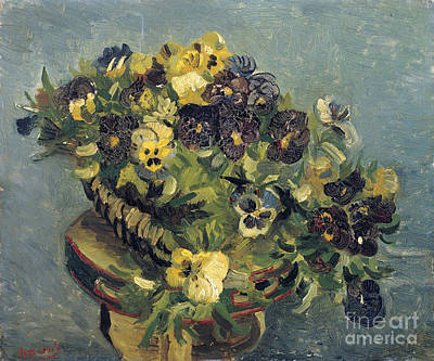 Basket Of Pansies On A Small Table Poster by Van Gogh