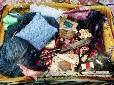 Basket Of Sewing Supplies Poster by Susan Savad