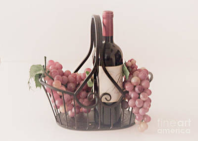 Basket Of Wine And Grapes Poster by Sherry Hallemeier