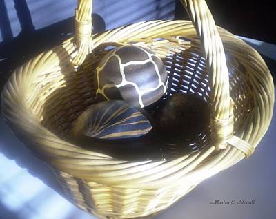 Basket With Brown Patterned Decor In The Sunlight Poster