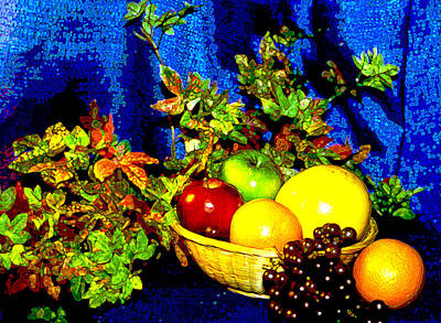 Basket With Fruit Poster by Nancy Mueller