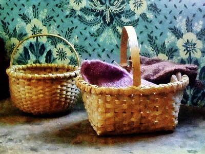Basket With Knitting Poster by Susan Savad