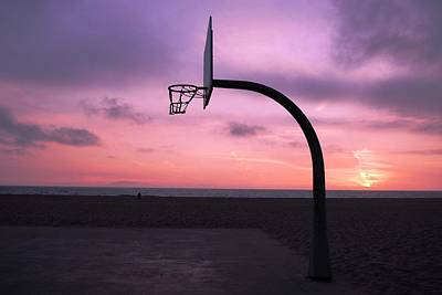 Basketball Court At Sunset Poster