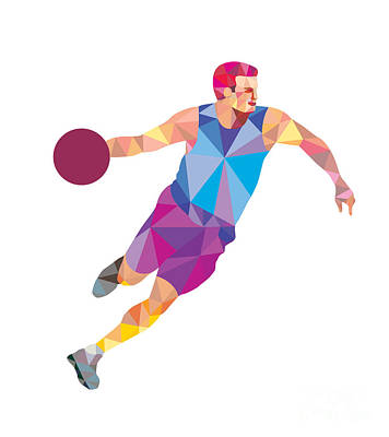Basketball Player Dribble Front Low Polygon Poster