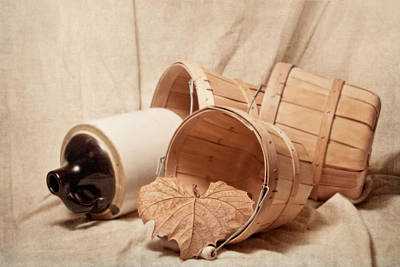 Baskets With Crock Poster by Tom Mc Nemar
