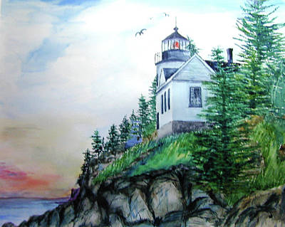 Poster featuring the painting Bass Harbor Light by Ron Stephens