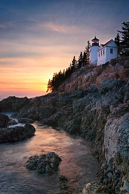 Bass Harbor Lighthouse At Sunset Poster by Darylann Leonard Photography