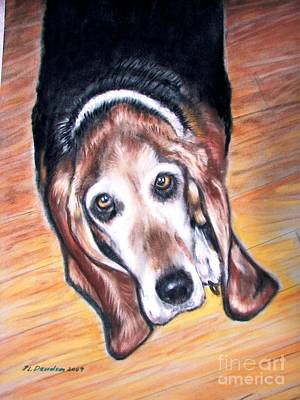 Poster featuring the painting Basset Hound  by Patricia L Davidson