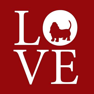 Bassett Love Red Poster by Nancy Ingersoll