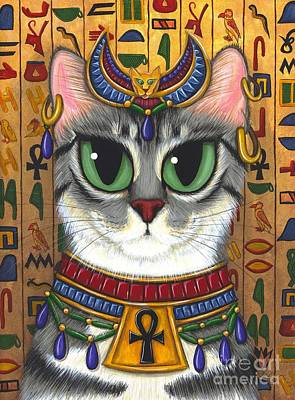 Poster featuring the painting Bast Goddess - Egyptian Bastet by Carrie Hawks