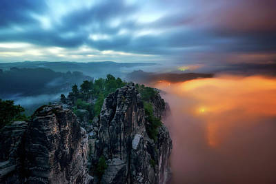 Bastei Bridge Night View, Saxon Switzerland, Germany Poster
