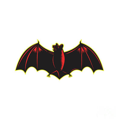 Bat Spread Wing Woodcut Poster by Aloysius Patrimonio