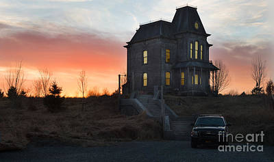 Bates Motel At Night Poster by Jim  Hatch