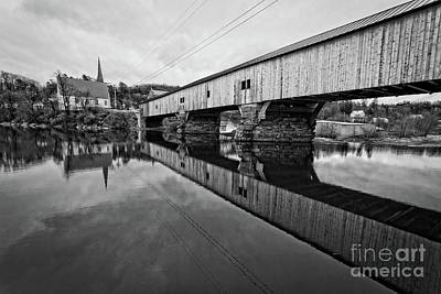 Bath Covered Bridge New Hampshire Black And White Poster by Edward Fielding