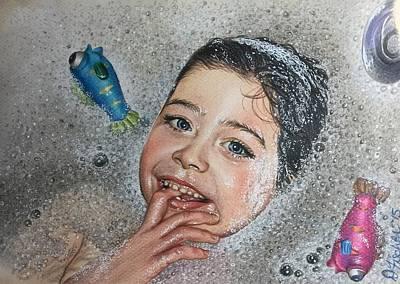 Bath Time Bubbles Poster by Debbie Fischer