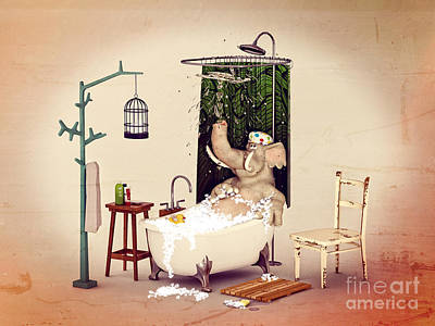 Bath Time Poster by Methune Hively